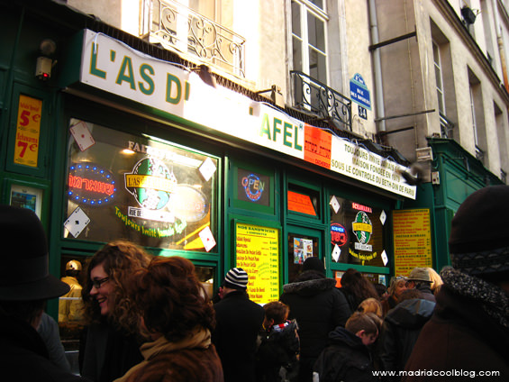 Lás du Fallafel en el barrio de Le Marais, París. Foto de www.madridcoolblog.com Francia, Lenny Kravitz, falafel